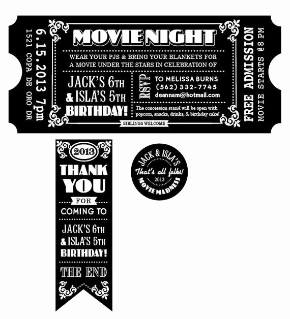 customized movie ticket invitation