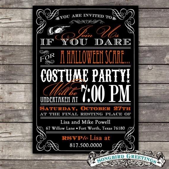 Items Similar to Diy Vintage Halloween Party Invitation
