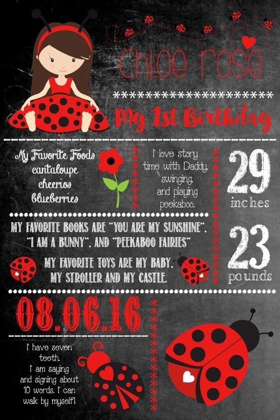 Items Similar to Ladybug First Birthday Chalkboard