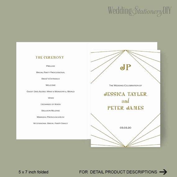 Items Similar to Modern Wedding Program Printable Program