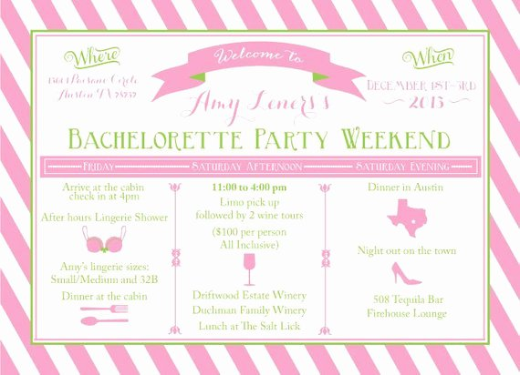 Items Similar to Printable Bachelorette Weekend Itinerary