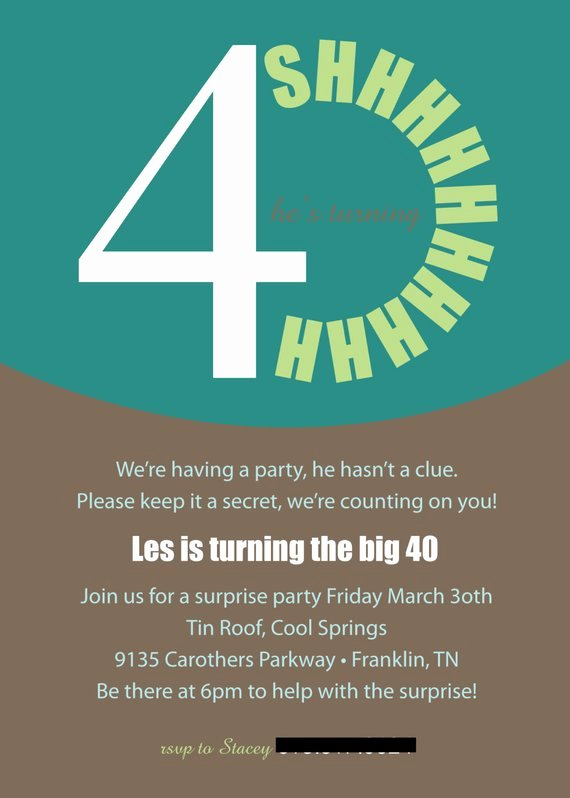 Items Similar to Printable or Emailable 40th Surprise Birthday Party Invitation On Etsy