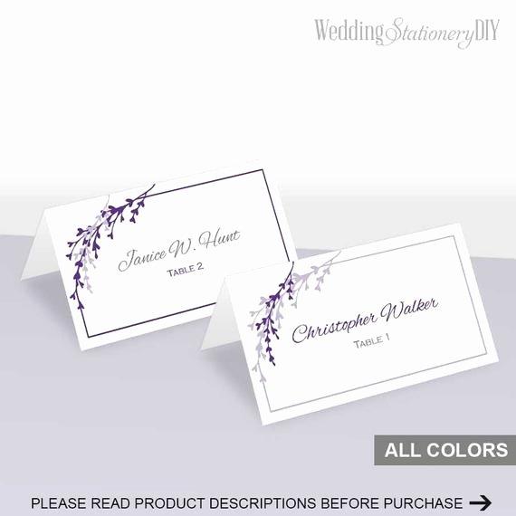 Items Similar to Purple Wedding Place Cards Printable