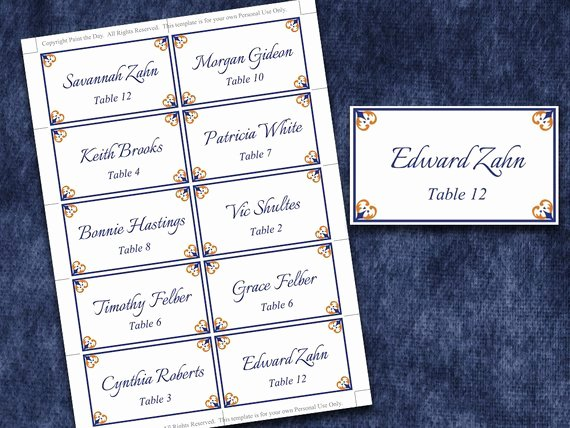 Items Similar to Wedding Place Cards Microsoft Word
