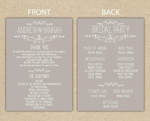 Items Similar to Wedding Program Wedding Reception