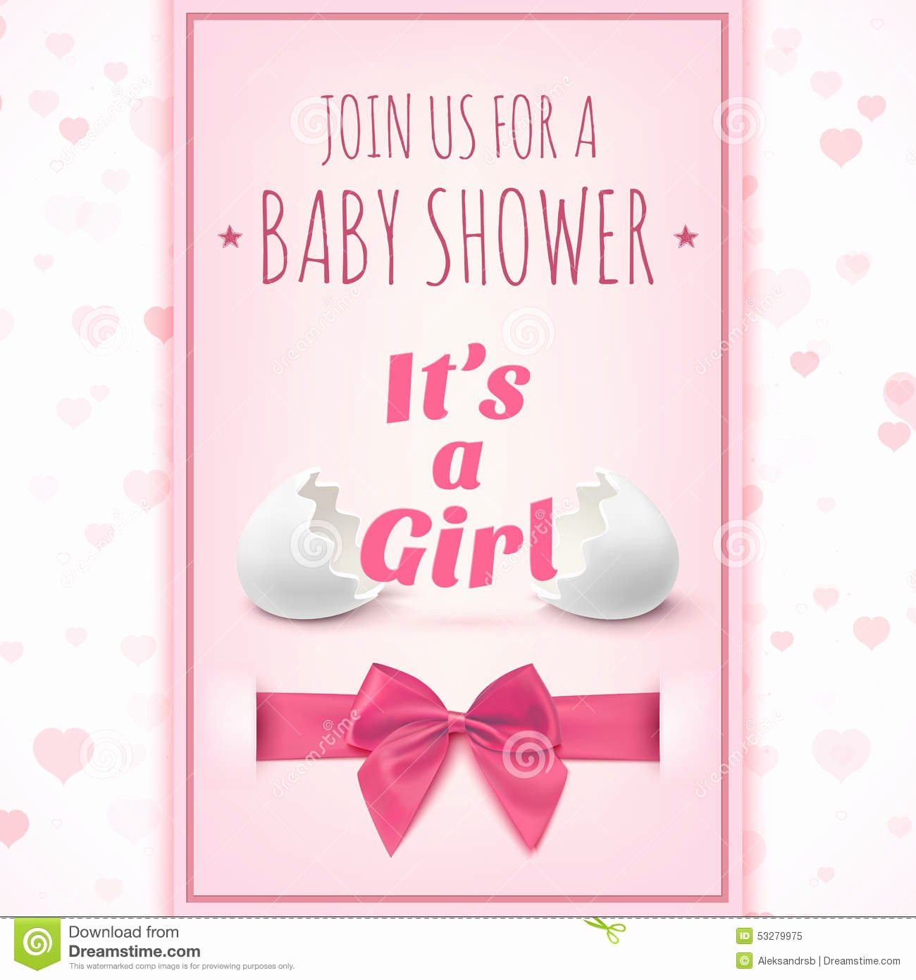 Its A Girl Template for Baby Shower Celebration Stock