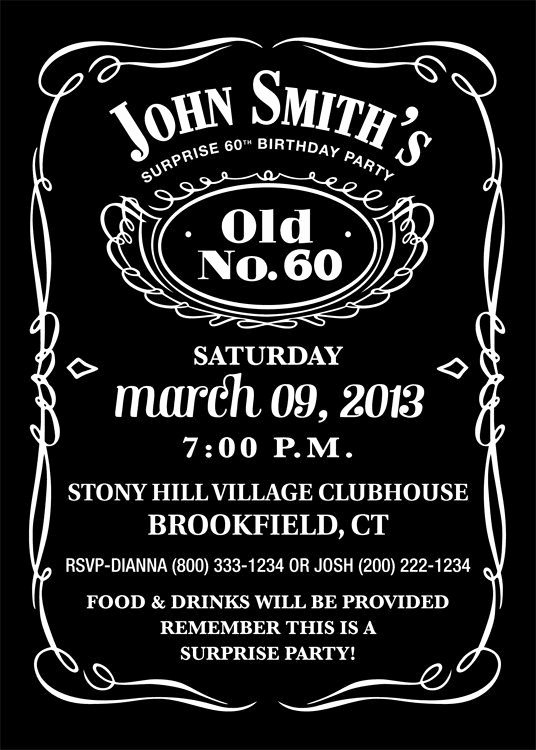 Jack Daniels Inspired Invitation Personalized Printable