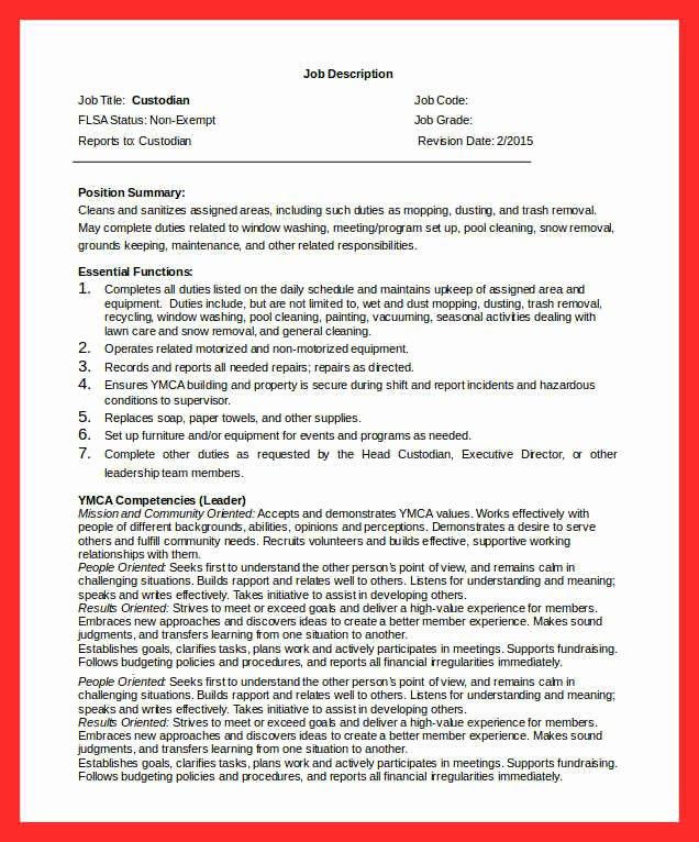 Janitor Duties List