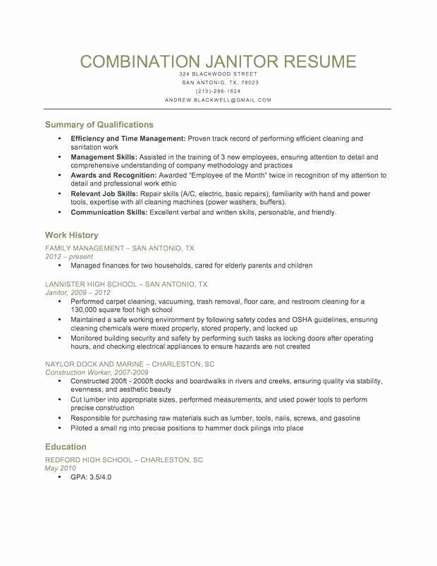 Janitor Job Description Resume Lovely Custodian Resume