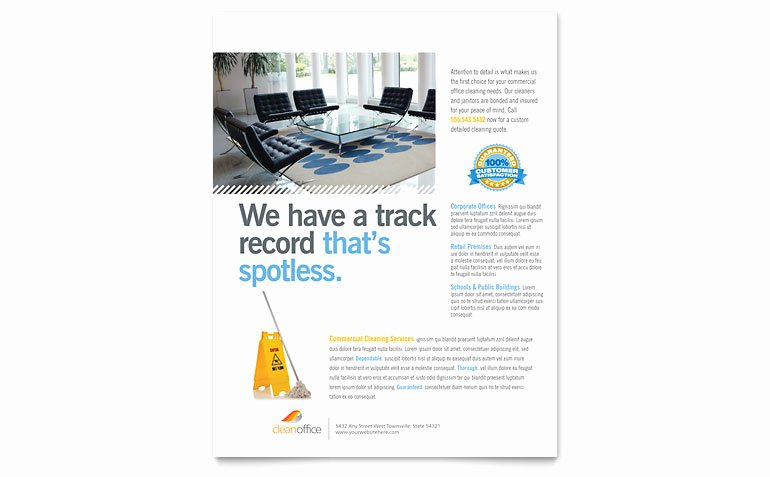 Janitorial & Fice Cleaning Flyer Template Word & Publisher