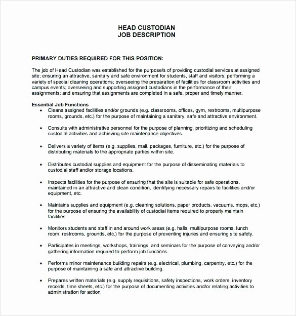 Janitorial Description Job Template Janitor Resume Sample