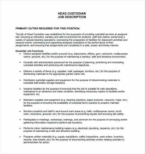 Janitorial Description Job Template Janitor Resume Sample