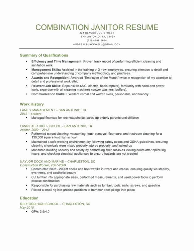Janitorial Resume Examples