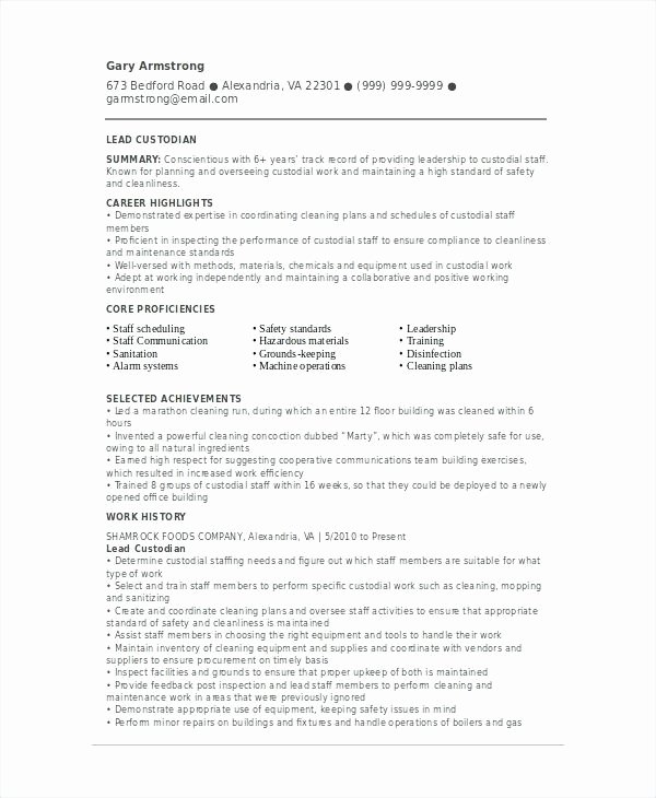 Janitorial Resumes Custodian Free Resume Template – Creero