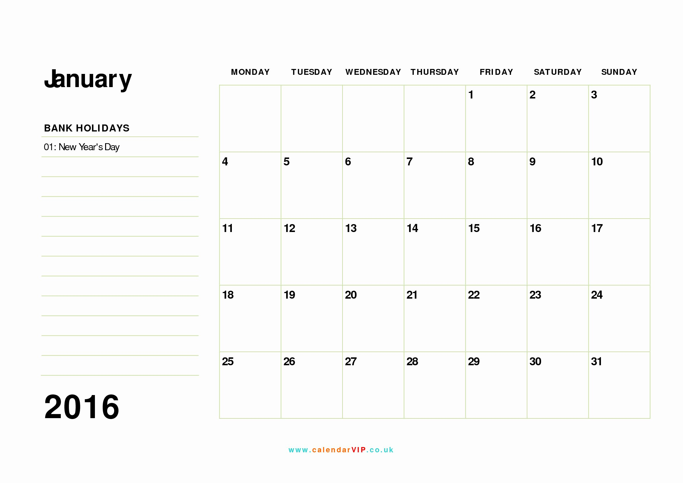 january 2016 calendar free monthly calendar templates for uk