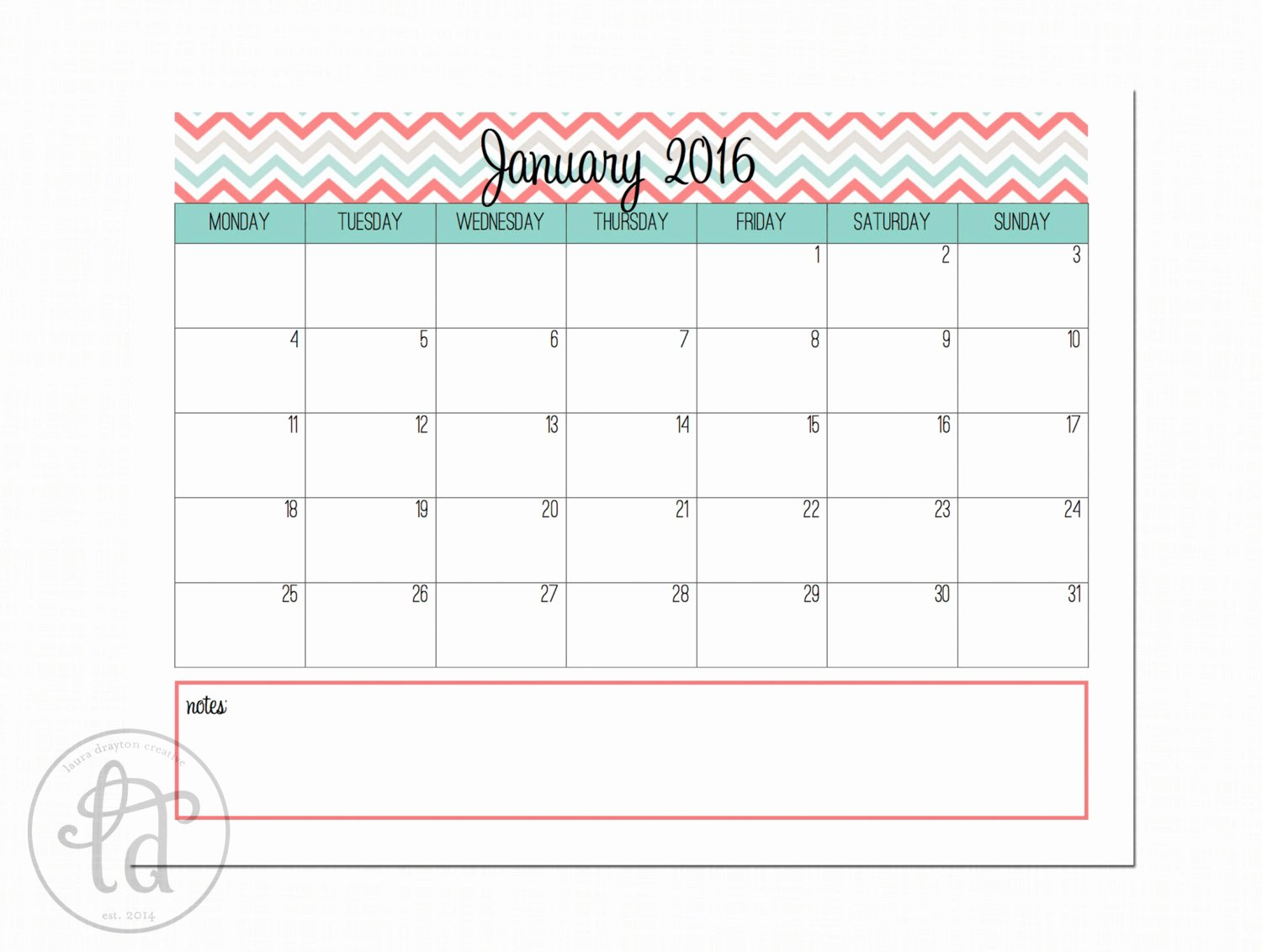 January 2016 Calendar Printable Template – 2017 Printable