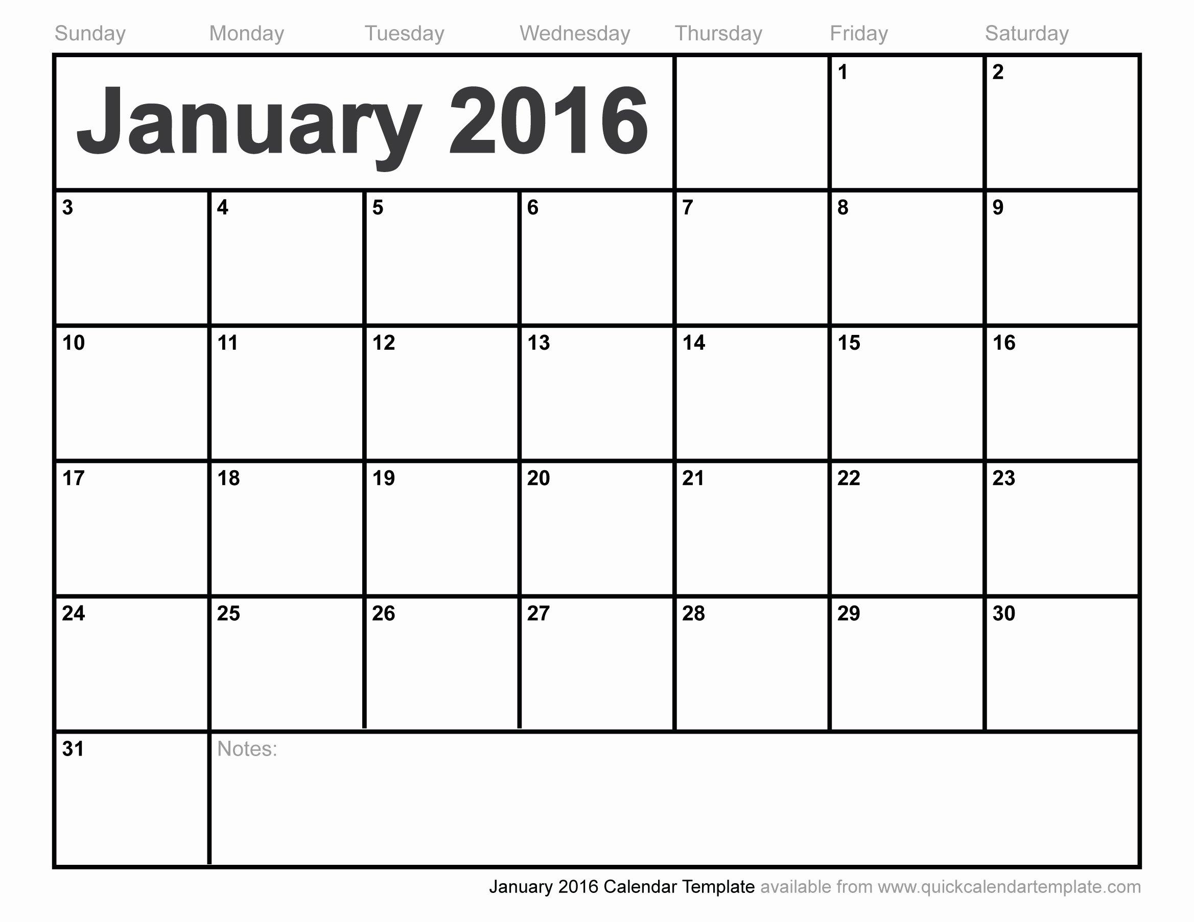 January 2016 Calendar Template