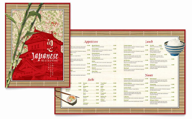 Japanese Restaurant Menu Template Word & Publisher