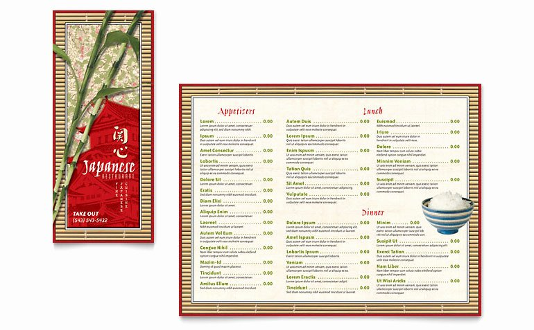 Japanese Restaurant Take Out Brochure Template Word