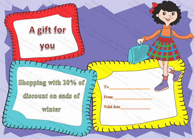 Jazzy Shopping Gift Certificate Template