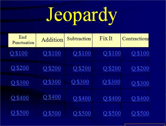 Jeopardy Powerpoint Template with Timer Jeopardy
