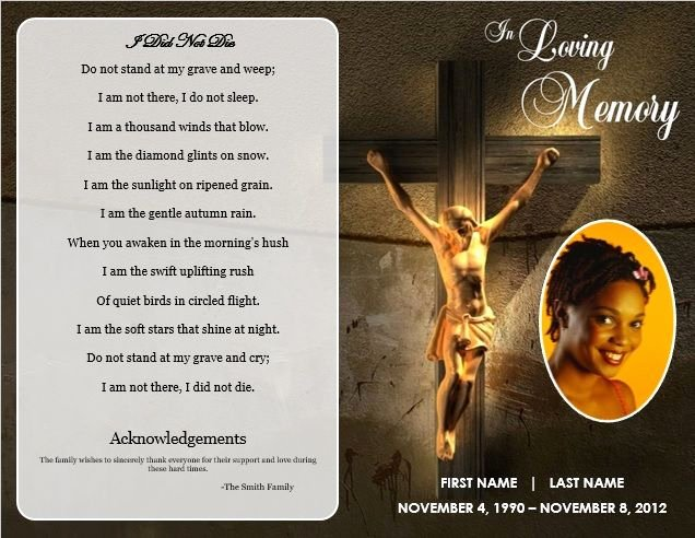 Jesus Cross Bifold Funeral Card Template for Funeral