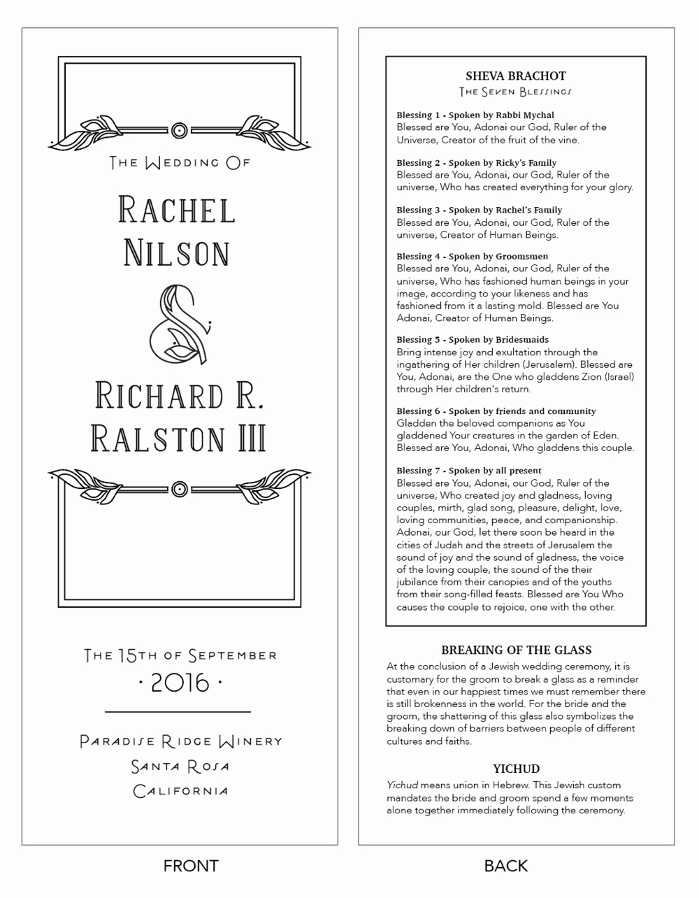 Jewish Wedding Program Template Template Design Ideas