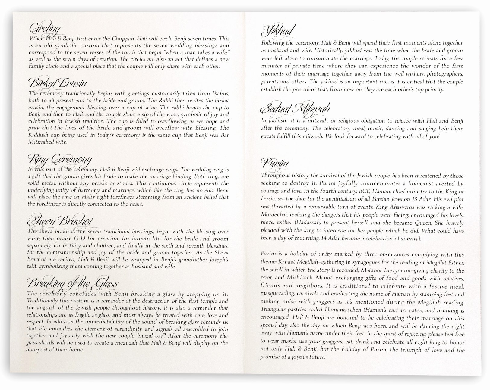 Jewish Wedding Programs and Jewish Program Wording