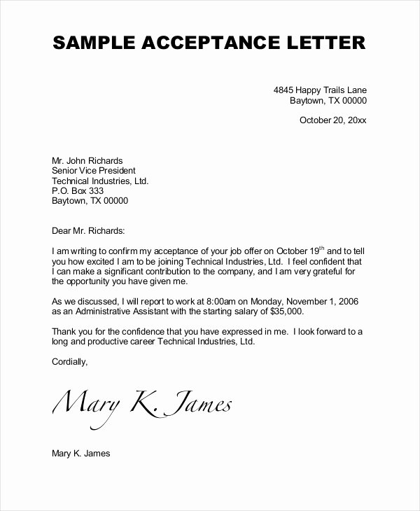 Job Acceptance Letter 9 Free Word Pdf Documents