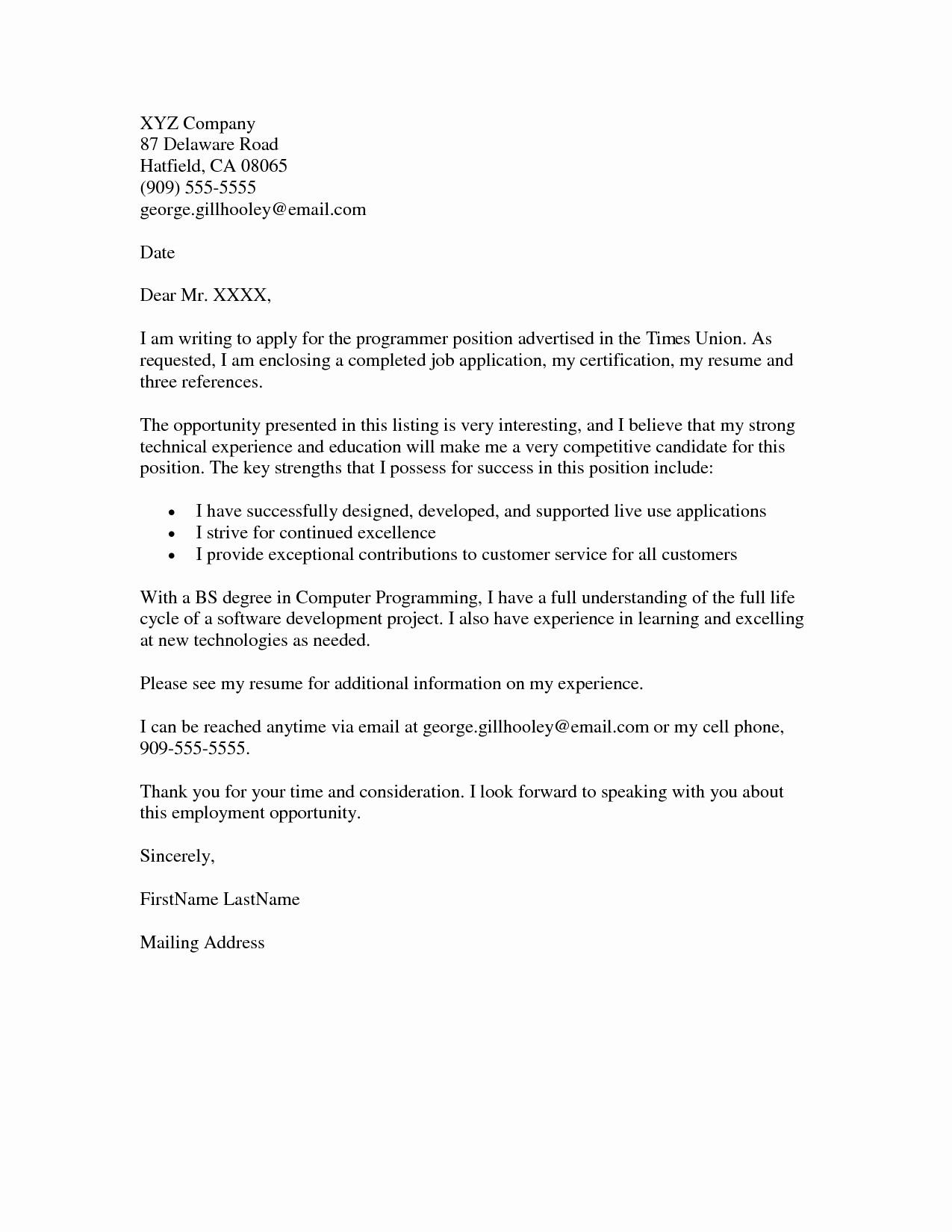 Job Application Cover Letter Example Resumes