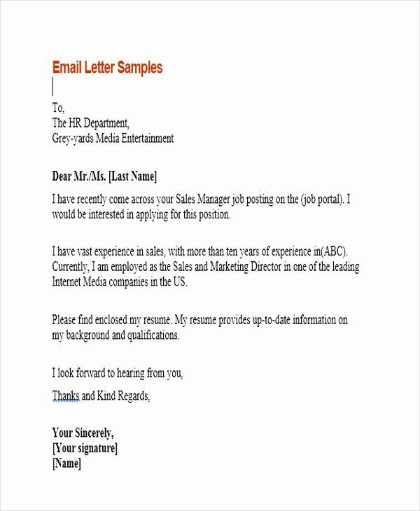 Job Application Email Sample F Resume