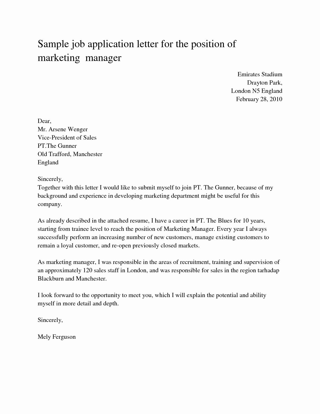 Job Application Letter Sample for the Position