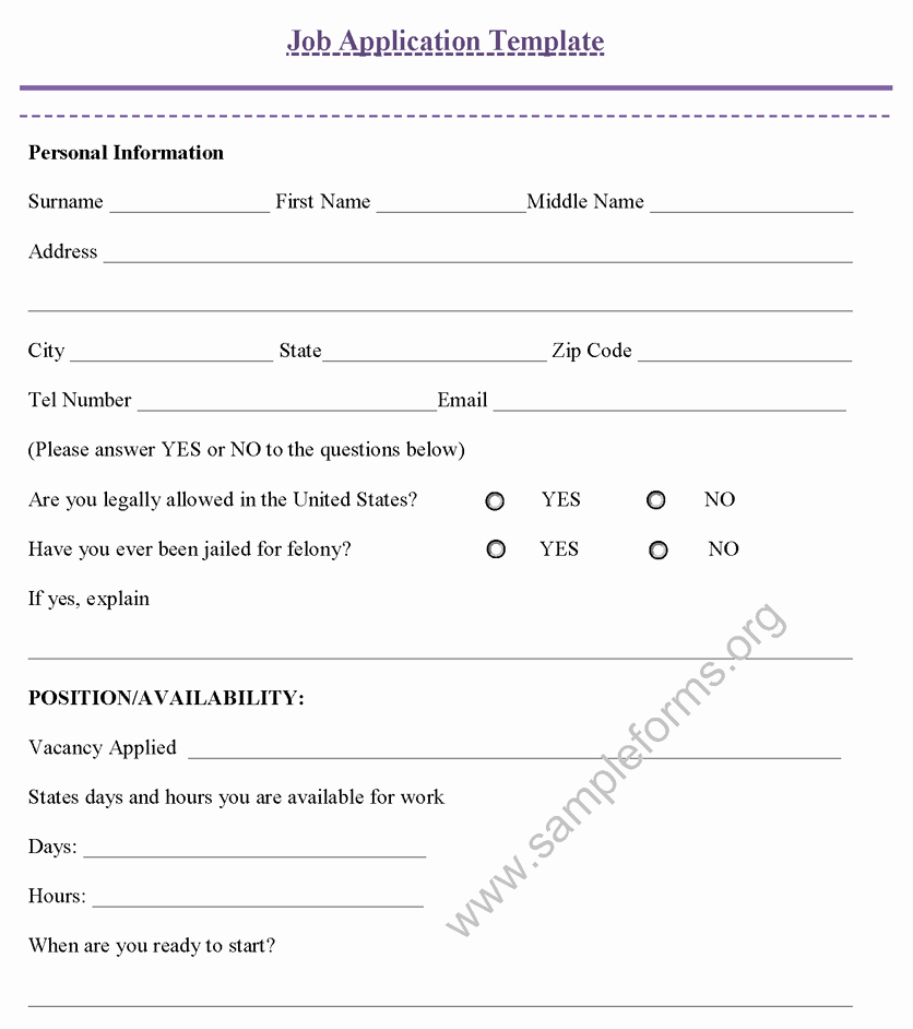 Job Application Template Sample forms