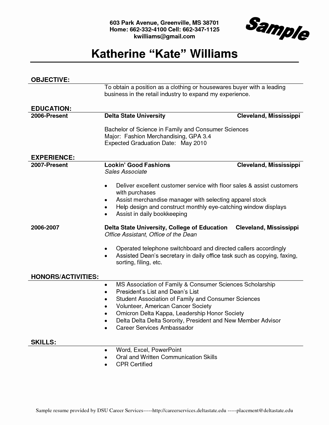 Job Description A Sales associate for A Resume Resume