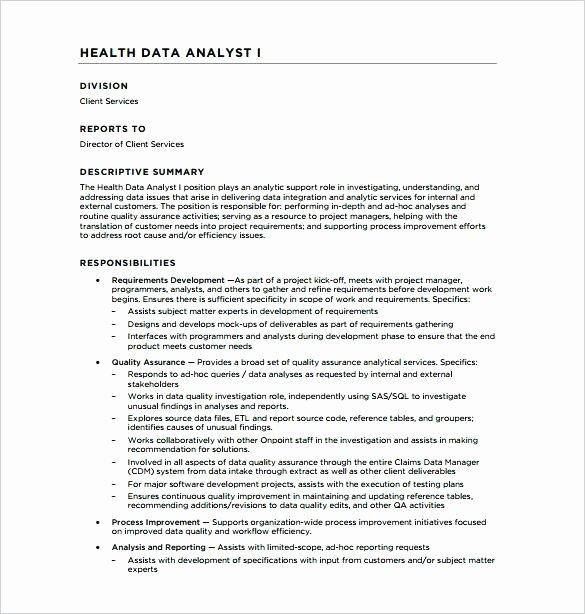 Job Description Data Analyst Healthcare Duties Analysis