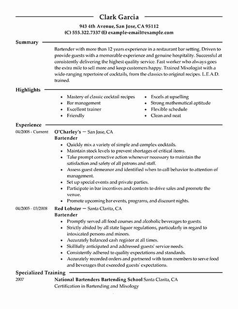 Job Description for Bartender Resume Best Resume