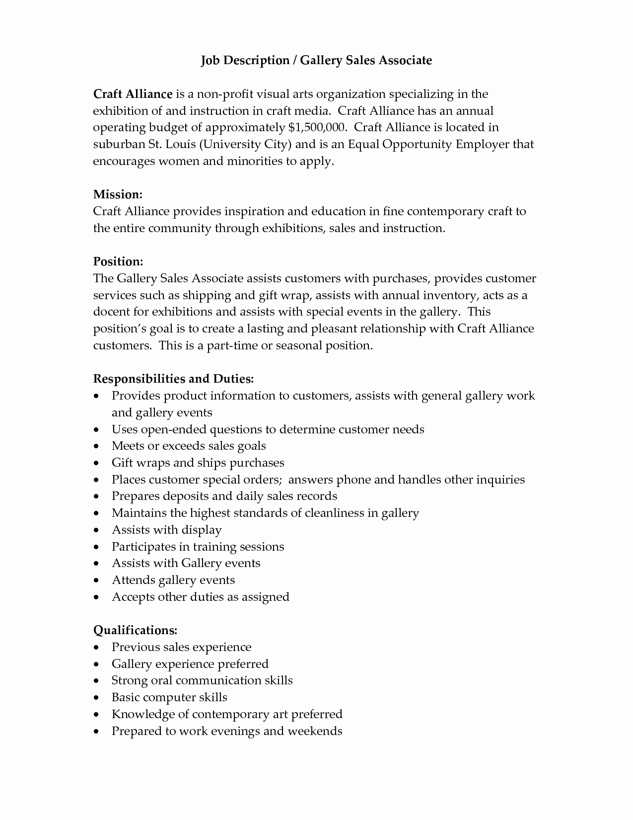 Job Description Of Retail Sales associate for Resume Sales