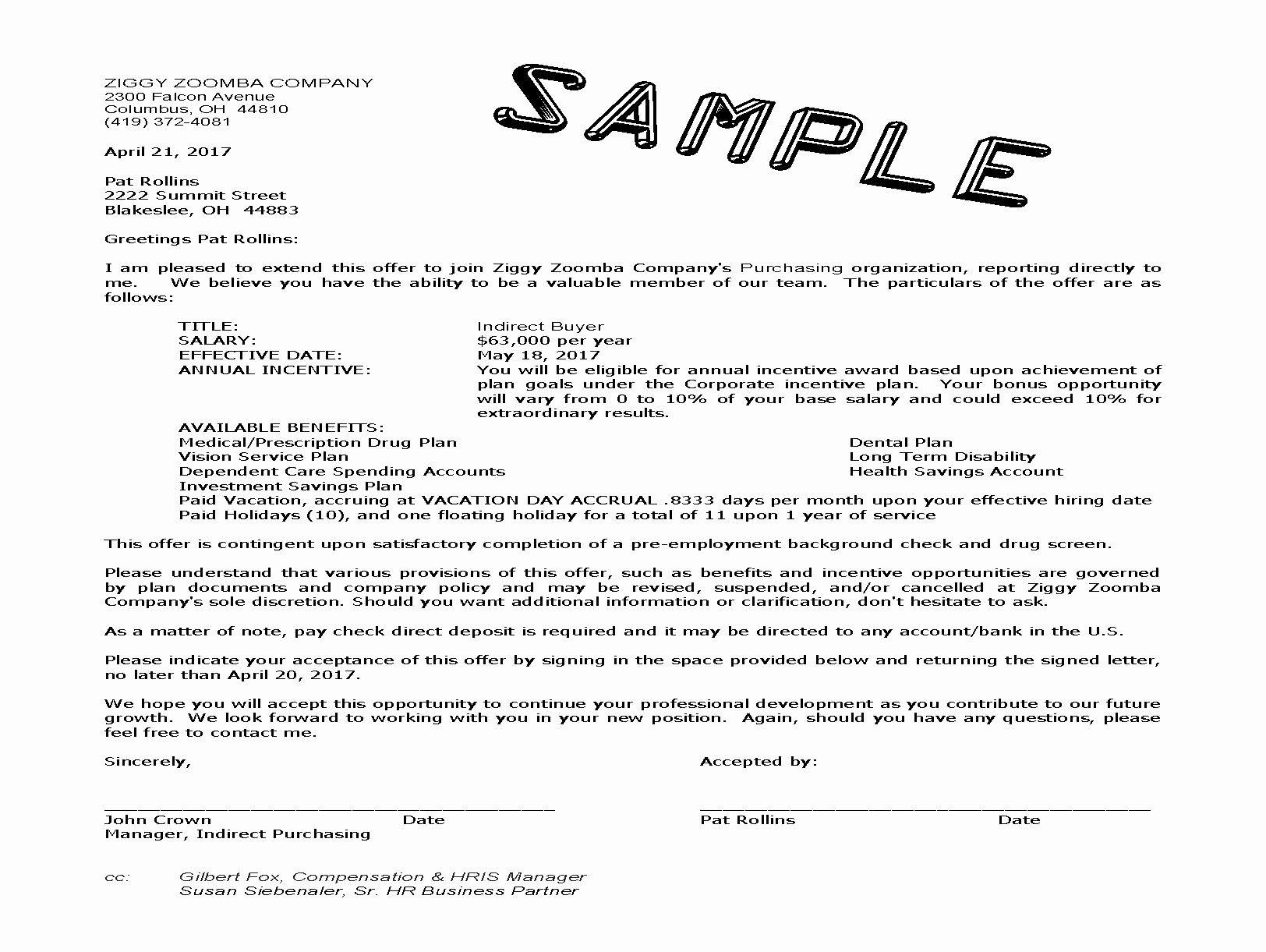 Job Fer Acceptance Letter Salary Negotiation Sample