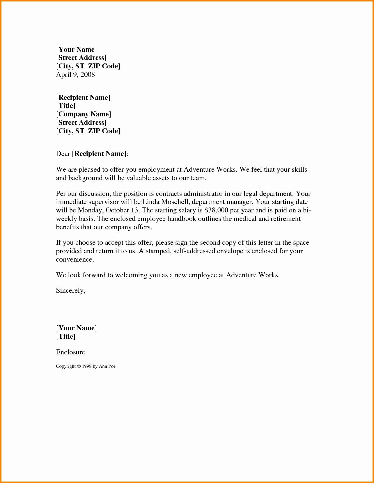 Job Fer Letter Sample Template