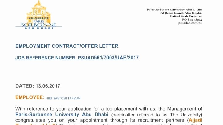 Job Fer Letter Sample Uae