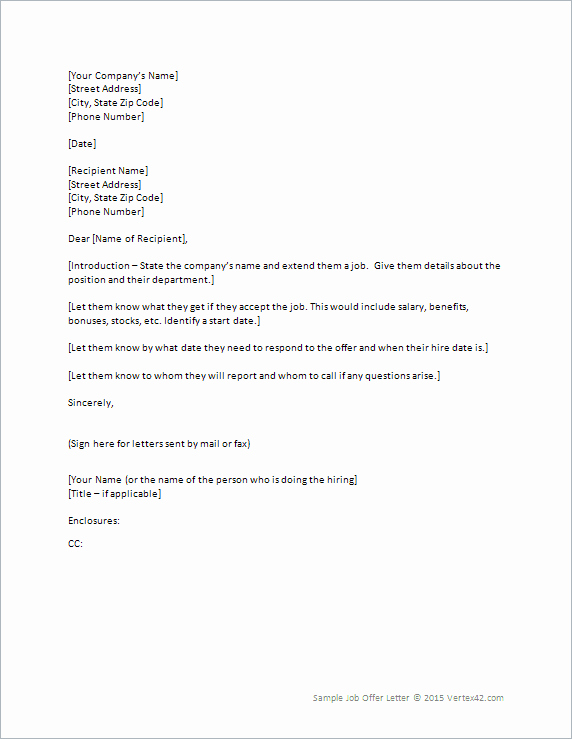 Job Fer Letter Template for Word