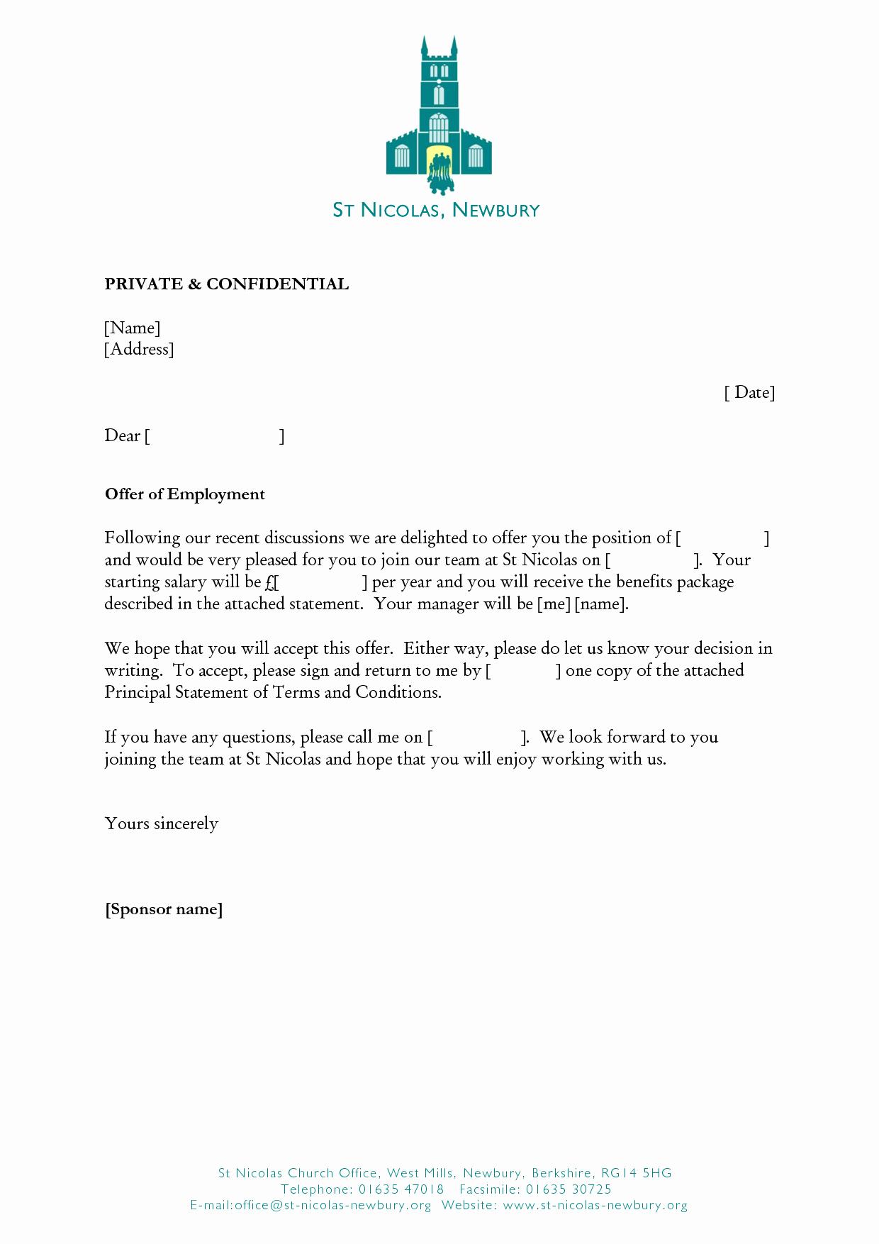 Job Fer Letter Template
