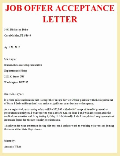 Job Offer Acceptance Letter Letter Pinterest