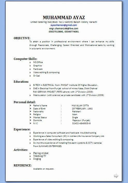 Job Resume format Download Pdf