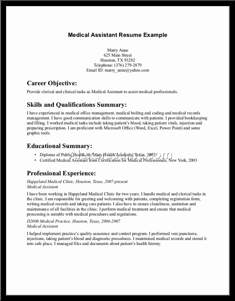 Job Resume format In Word for Medical assistant Sample