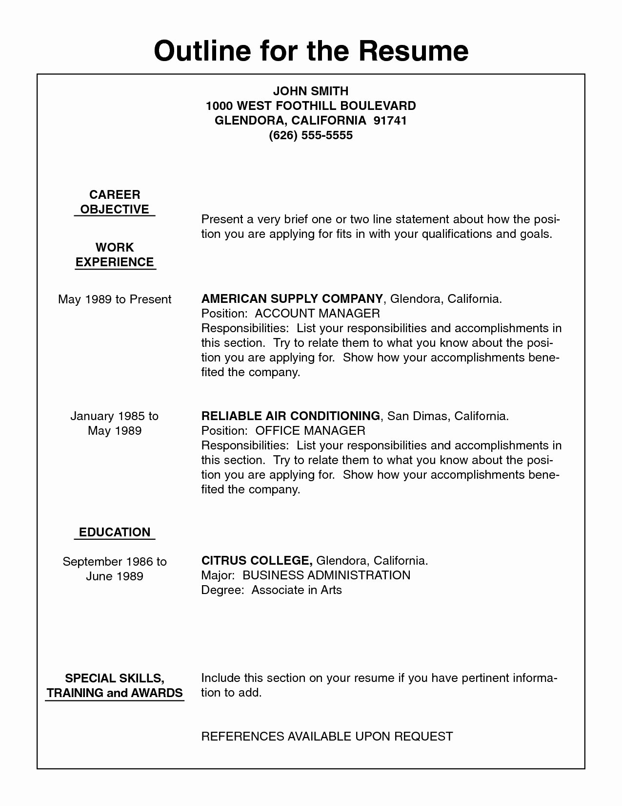 Job Resumes Outline Resume Example Resume Outline