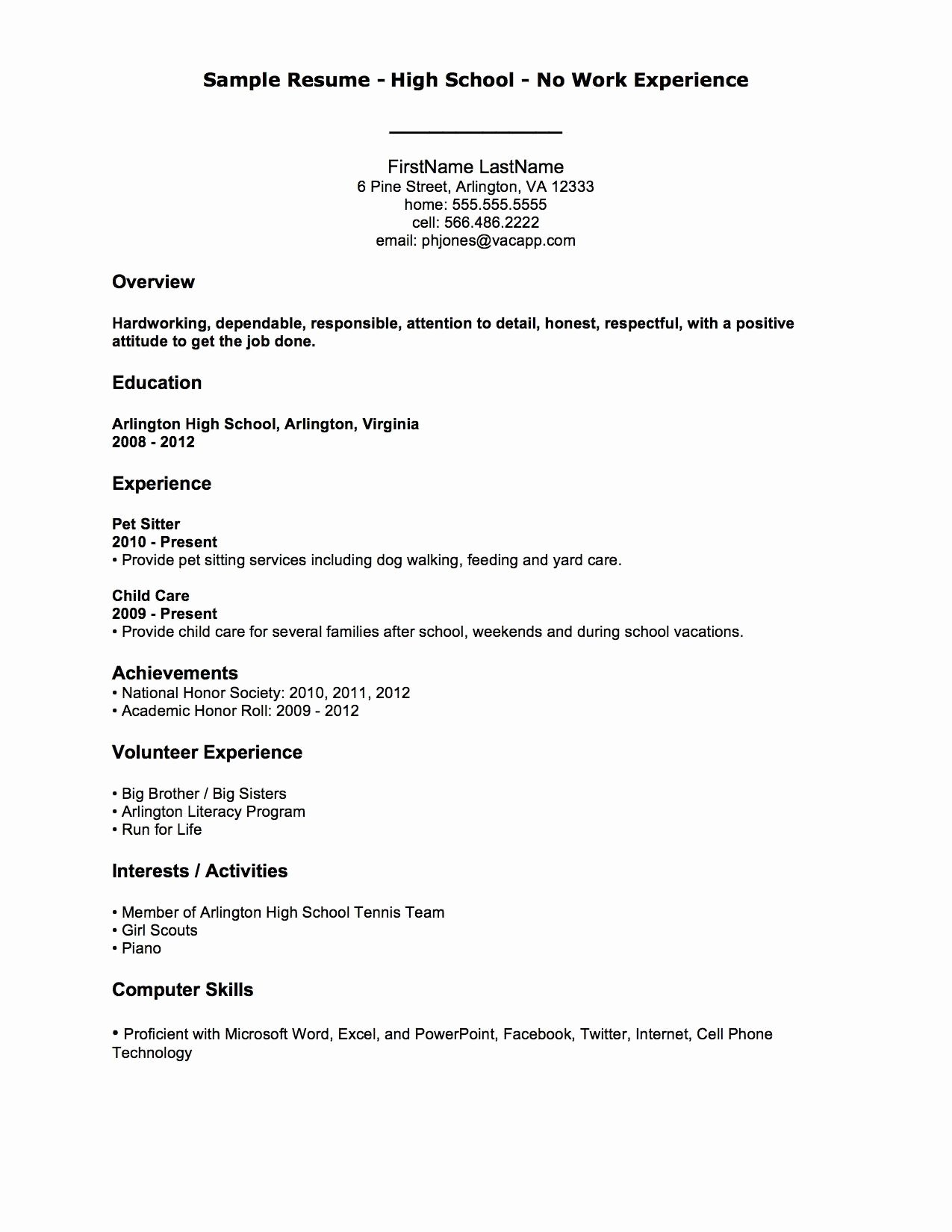 Job with No Work Experience Resume Template Examples Work