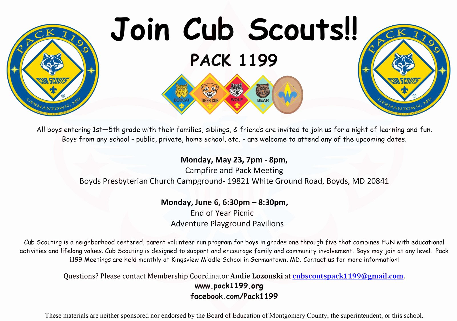 Join Pack 1199 Cub Scouts Cub Scouts Pack 1199