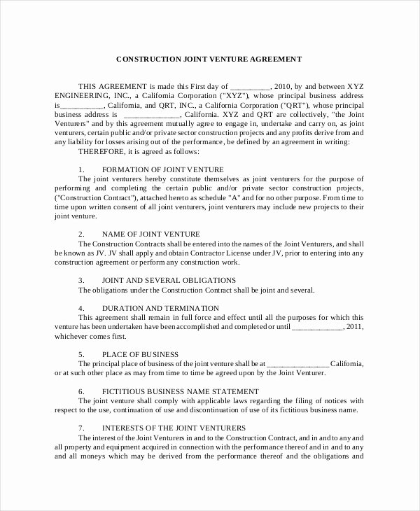 Joint Venture Agreement 9 Free Word Pdf Documents