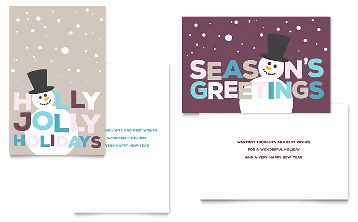 Jolly Holidays Greeting Card Template Word & Publisher